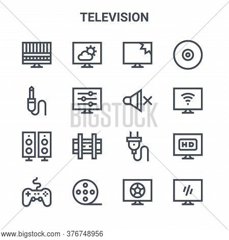 Set Of 16 Television Concept Vector Line Icons. 64x64 Thin Stroke Icons Such As , Jack Cable, Smart