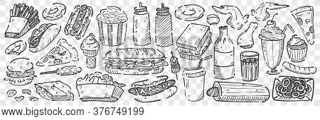 Hand Drawn Junk Food Doodle Set. Collection Of Pencil Chalk Drawing Sketches Of Pop Corn Sandwitch H