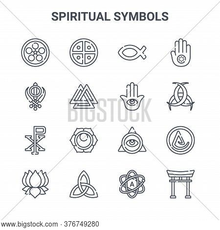 Set Of 16 Spiritual Symbols Concept Vector Line Icons. 64x64 Thin Stroke Icons Such As Native, Sikhi