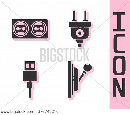 Set Electrical Panel, Electrical Outlet, Usb Cable Cord And Electric Plug Icon. Vector