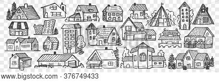 Hand Drawn Buildings Doodle Set. Collection Of Pencil Chalk Drawing Sketches Different City Or Villa