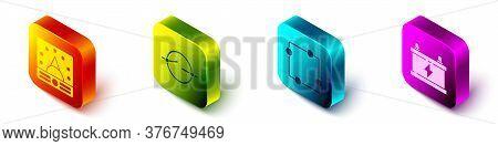 Set Isometric Ampere Meter, Multimeter, Voltmeter, Electric Circuit Scheme, Electric Circuit Scheme