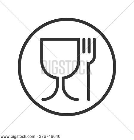 Symbol Safe Materials Contacting With Food. Wine Glass And Fork Sign In The Circle Isolated On White