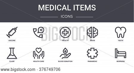 Medical Items Concept Line Icons Set. Contains Icons Usable For Web, Logo, Ui Ux Such As , Brain, Fl