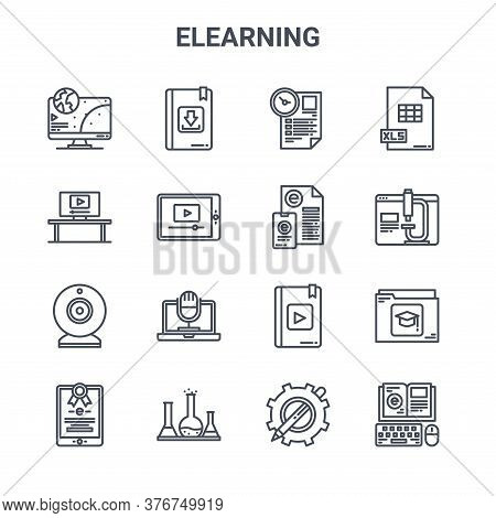 Set Of 16 Elearning Concept Vector Line Icons. 64x64 Thin Stroke Icons Such As Ebook, Monitor, Onlin