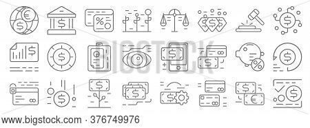 Business And Finance Line Icons. Linear Set. Quality Vector Line Set Such As Transfer, Cit Card, Rev