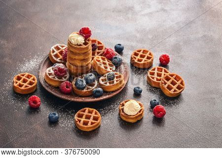 Homemade Waffles With Berries. Traditional Belgian Mini Waffles With Blueberries And Raspberries. Se