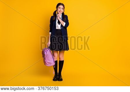 Full Length Body Size View Of Her She Nice Attractive Shy Modest Unsure Schoolgirl Holding In Hand V