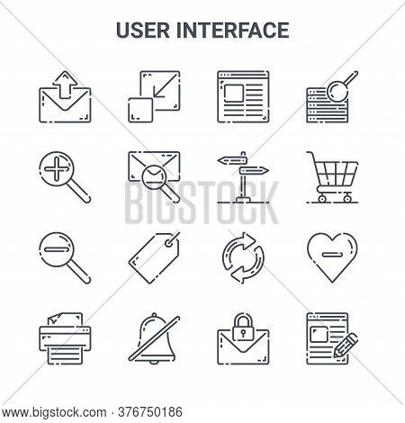 Set Of 16 User Interface Concept Vector Line Icons. 64x64 Thin Stroke Icons Such As Exit Full Screen