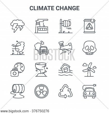 Set Of 16 Climate Change Concept Vector Line Icons. 64x64 Thin Stroke Icons Such As Factory, Wind, S