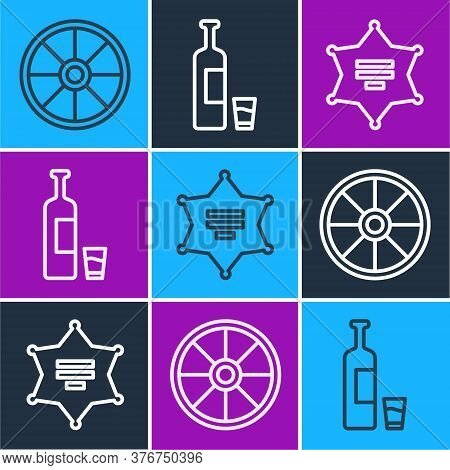 Set Line Old Wooden Wheel, Hexagram Sheriff And Whiskey Bottle And Glass Icon. Vector