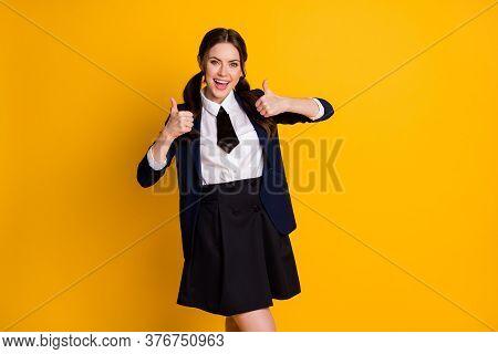 Portrait Of Positive Cheerful High School Teenager Show Thumb Up Sign Enjoy Scholar Graduate Courses
