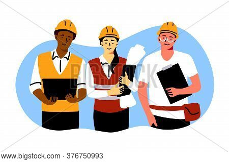 Building, Industry, Teamwork, Engineering Concept. Team Of Builders Architects Engineers Foremen Cha
