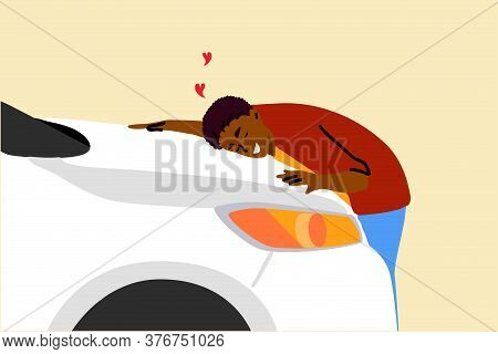 Buy, Car, Love, Embrace, Insurance Concept. Happy Young Man Guy Driver Character Hugging New Car In