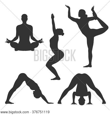 Poses Of Yoga Graphic Icons Set. Women Silhouettes In Different Poses Of Yoga. Signs Isolated On Whi