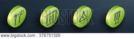 Set Isometric Air Headphones, Pause Button, Triangle Musical Instrument And Drum Icon. Vector