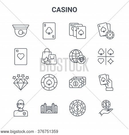 Set Of 16 Casino Concept Vector Line Icons. 64x64 Thin Stroke Icons Such As Card Game, Card Game, Ca