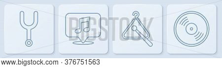 Set Line Musical Tuning Fork, Triangle Musical Instrument, Musical Note In Speech Bubble And Vinyl D