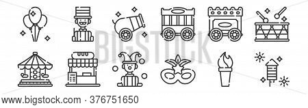 12 Set Of Linear Circus Icons. Thin Outline Icons Such As Fireworks, Mask, Food Stall, Wagon, Cannon