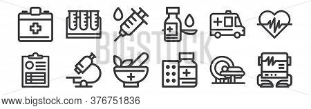 12 Set Of Linear Medical Tools Icons. Thin Outline Icons Such As Electrocardiogram, Medicine Drug, M
