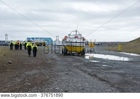 Jokulsarlon, Iceland - May 23, 2019: Tourists Taking A Trip With An Amphibian Boat In The Jokulsarlo
