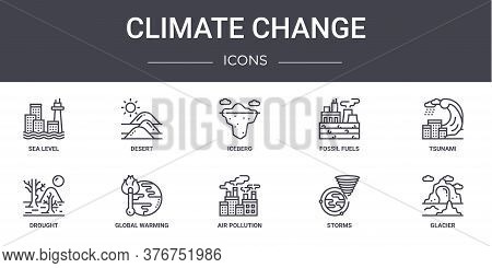 Climate Change Concept Line Icons Set. Contains Icons Usable For Web, Logo, Ui Ux Such As Desert, Fo