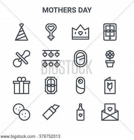Set Of 16 Mothers Day Concept Vector Line Icons. 64x64 Thin Stroke Icons Such As Woman, Pacifier, Fl