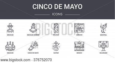 Cinco De Mayo Concept Line Icons Set. Contains Icons Usable For Web, Logo, Ui Ux Such As Mexican Wom