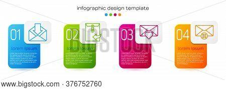 Set Line Envelope, Envelope, Envelope With Valentine Heart And Delete Envelope. Business Infographic