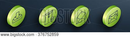 Set Isometric Download Inbox, Envelope And Check Mark, Envelope And Envelope Icon. Vector