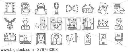 Fame Line Icons. Linear Set. Quality Vector Line Set Such As Director Chair, Vip Card, Suit, Billboa