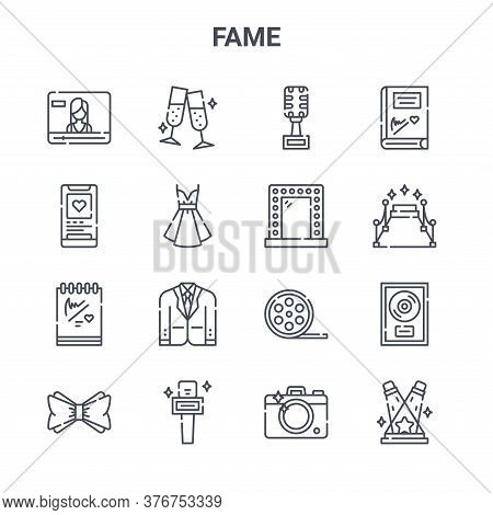 Set Of 16 Fame Concept Vector Line Icons. 64x64 Thin Stroke Icons Such As Cheers, Social Media, Carp