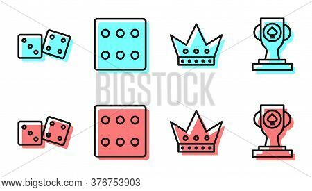 Set Line King Playing Card, Game Dice, Game Dice And Casino Poker Trophy Cup Icon. Vector