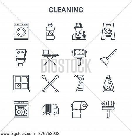 Set Of 16 Cleaning Concept Vector Line Icons. 64x64 Thin Stroke Icons Such As Mouthwash, Toilet, Plu