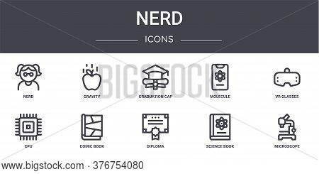Nerd Concept Line Icons Set. Contains Icons Usable For Web, Logo, Ui Ux Such As Gravity, Molecule, C