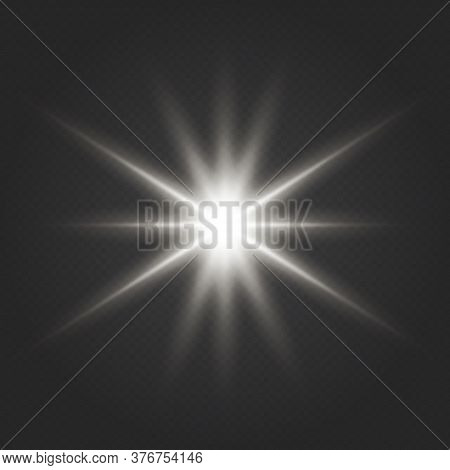 Glow Light Effect Starburst Sbeam Sunshine Glowing Isolated. White Glowing Light Burst Explosion Tra