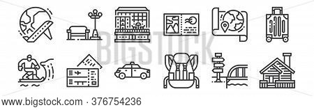 12 Set Of Linear Travel Icons. Thin Outline Icons Such As Cabin, Backpack, Airplane Ticket, Map, Hot