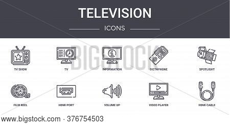 Television Concept Line Icons Set. Contains Icons Usable For Web, Logo, Ui Ux Such As Tv, Dictaphone
