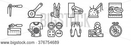 12 Set Of Linear Sewing Equipment Icons. Thin Outline Icons Such As Embroidery, Trousers, Tshirt, Se