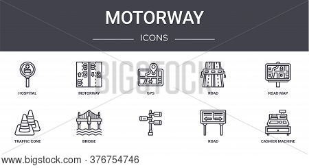 Motorway Concept Line Icons Set. Contains Icons Usable For Web, Logo, Ui Ux Such As Motorway, Road,