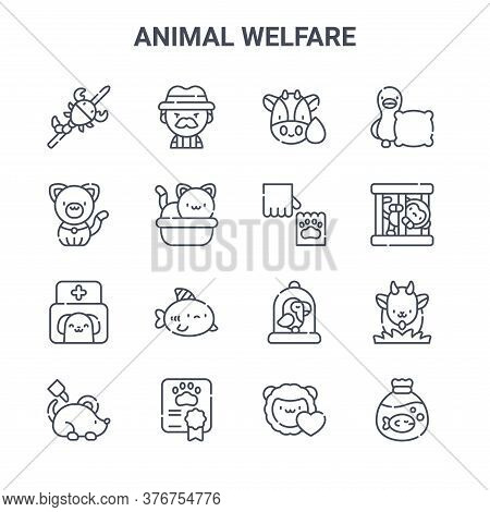 Set Of 16 Animal Welfare Concept Vector Line Icons. 64x64 Thin Stroke Icons Such As Hunter, Cat, Mon