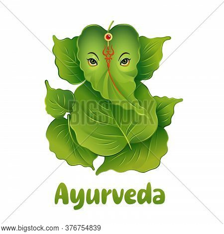 Ayurveda Logo In The Form Of A Green Elephant From Leaves In The Indian Style. Vector Illustration