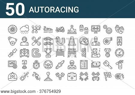 Set Of 50 Autoracing Icons. Outline Thin Line Icons Such As Tire, Cap, Game, Seat Belt, Conveyor Bel