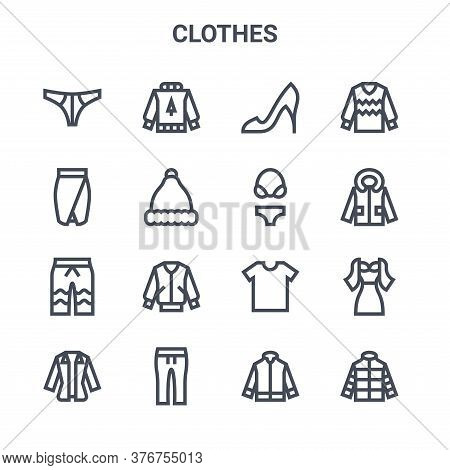 Set Of 16 Clothes Concept Vector Line Icons. 64x64 Thin Stroke Icons Such As Sweater, Skirt, Jacket,
