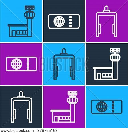 Set Line Airport Control Tower, Metal Detector In Airport And Airline Ticket Icon. Vector