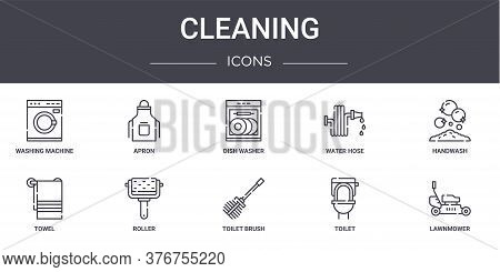 Cleaning Concept Line Icons Set. Contains Icons Usable For Web, Logo, Ui Ux Such As Apron, Water Hos