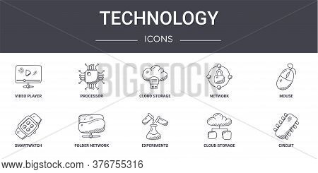 Technology Concept Line Icons Set. Contains Icons Usable For Web, Logo, Ui Ux Such As Processor, Net