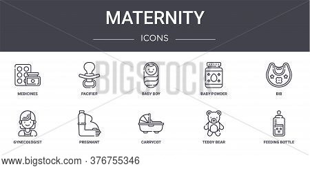 Maternity Concept Line Icons Set. Contains Icons Usable For Web, Logo, Ui Ux Such As Pacifier, Baby