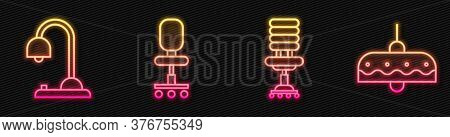 Set Line Office Chair, Table Lamp, Office Chair And Chandelier. Glowing Neon Icon. Vector