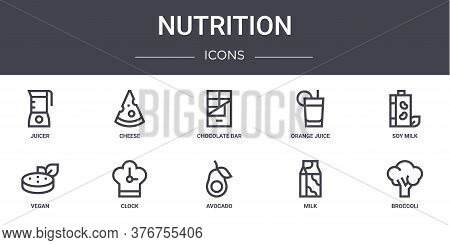 Nutrition Concept Line Icons Set. Contains Icons Usable For Web, Logo, Ui Ux Such As Cheese, Orange
